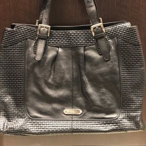 Cole Haan Black Leather Weave Tote Bag Like New!